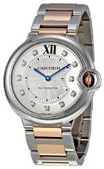 カルティエ 時計 Cartier Ballon Bleu Silver Dial Steel and 18k Rose Gold Unisex Watch WE902031
