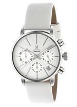 モメンタス 時計 Momentus Stainless Steel with White Leather Band Dial Women's Watch DW251S-01BS