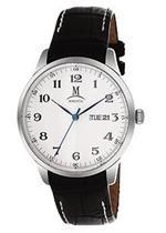 モメンタス 時計 Momentus Stainless Steel Black Leather Band White Dial Men's Watch EM240S-02BS
