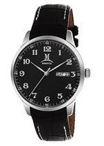 モメンタス 時計 Momentus Stainless Steel Black Leather Band Black Dial Men's Watch EM240S-04BS