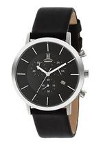 モメンタス 時計 Momentus Black Leather Band  Black Dial Men's Chrono Date Watch FD236S-04BS