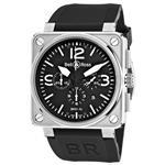 ベルアンドロス 時計 Bell amp Ross Mens BR-01-94-STEEL Aviation Black Chronograph Dial Watch Watch