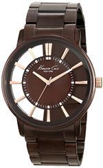 ケネスコール 時計 Kenneth Cole New York Mens KC9047 Transparent Clear Brown Ion-Plating Round Watch