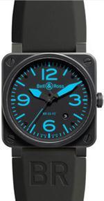 ベルアンドロス 時計 AUTHENTIC BELL  ROSS AUTOMATIC MENS BLUE INDEX WATCH  MODEL BR-03-92-BLUE