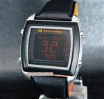 ヒューゴボス 時計 HUGO BOSS MEN WATCH 'BOSS ORANGE' ALARM DIGITAL LIGHTED DISPLAY LEATHER 1512609