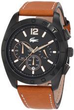 ラコステ 時計 Lacoste Panama Black Dial Chronograph Tan Leather Mens Watch 2010607