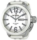 ティーダブルスティール 時計 TW Steel Mens CE1038 CEO Canteen White Leather Strap Watch