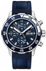 アイダブルシー 時計 IWC Aquatimer Chronograph Blue Leather Strap Mens Watch IW376711