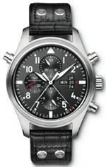 アイダブルシー 時計 IWC Pilots Black Dial Leather Mens Watch IW377801