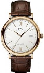 アイダブルシー 時計 IWC Portofino Silver Dial 18kt Rose Gold Case Brown Leather Strap Automatic Mens
