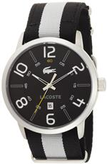 ラコステ 時計 Lacoste Barcelona Black Dial Black and White Strap Mens Watch 2010497<img class='new_mark_img2' src='https://img.shop-pro.jp/img/new/icons35.gif' style='border:none;display:inline;margin:0px;padding:0px;width:auto;' />
