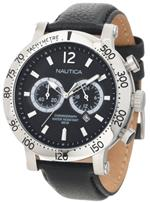 ノーティカ 時計 Nautica N20096G Mens Watch Windjammer Crhonograph Stainless Steel Case Leather Strap