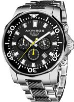 アクリボス 時計 Akribos Conqueror Chronograph Black Silicone and Stainless Steel Mens Watch AK561TTB
