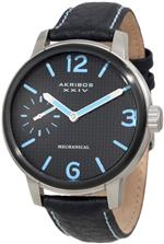 アクリボス 時計 Akribos XXIV Mens AK495BU Essential Mechanical Leather Strap Watch