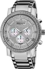 アクリボス 時計 Akribos XXIV Mens AK439SS Grandiose Diamond Quartz Chronograph Silver Dial Watch