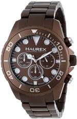 ハウレックスイタリア 時計 Haurex Mens 0K374UMM Ink Chrono Brown Aluminum Watch