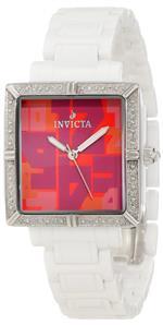 インヴィクタ 時計 Invicta Womens 10267 Ceramics Diamond Accented Red Dial White Ceramic Watch