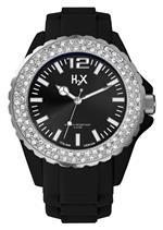 ハウレックス 時計 H2X Womens SS382DN1 Reef Stones Luminous Water Resistant Black Soft Rubber Watch