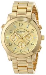 アクリボス 時計 Akribos XXIV Womens AK648YG Ultimate Swiss Multifunction Gold-Tone Bracelet Watch