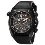 ベルアンドロス 時計 Bell amp Ross Mens BR-02-94-CARBON Marine Black Chronograph Dial Watch Watch