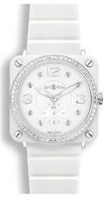 ベルアンドロス 時計 Bell amp Ross Aviation Quartz Midsize Watch Brs-White-Ceramic-Phantom-Diamond