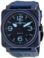 ベルアンドロス 時計 Bell and Ross Black Dial Automatic Blue Rubber Mens Watch BR0392-CREAM-BLUE
