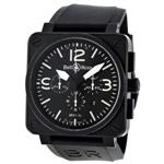 ベルアンドロス 時計 Bell and Ross Carbon Chronograph Black Dial Stainless Steel Mens Watch
