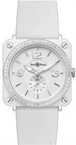 ベルアンドロス 時計 Bell amp Ross Aviation Quartz Ladies Watch Brs-White-Ceramic-Phantom-Diamond