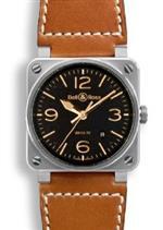 ベルアンドロス 時計 Bell and Ross Aviation Gold Heritage Black Dial Leather Mens Watch
