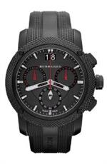 バーバリー 時計 Burberry quotThe Endurancequot Mens Black Ion Plated 46mm Chronograph Watch BU9802