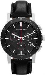 バーバリー 時計 Burberry Black Dial Chronograph Black Leather Mens Watch BU9382