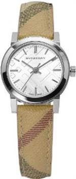 バーバリー 時計 Burberry Silver Dial Check Fabric Strap Ladies Watch BU9222