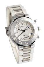 カルティエ 時計 Cartier Mens W10184U2 Must 21 Stainless Steel and White Rubber Chronograph Watch<img class='new_mark_img2' src='https://img.shop-pro.jp/img/new/icons41.gif' style='border:none;display:inline;margin:0px;padding:0px;width:auto;' />