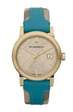 バーバリー 時計 Burberry Gold Engraved Leather Ladies Watch BU9112