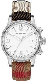 バーバリー 時計 Burberry Silver Dial Check Fabic Ladies Watch BU7824