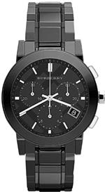 バーバリー 時計 Burberry Chronograph Black Dial Black Ceramic Mens Watch BU9081