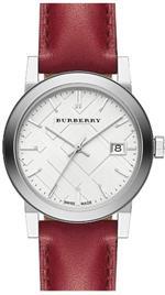 バーバリー 時計 Burberry White Silver Dial Red Leather Ladies Watch BU9129
