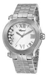 ショパール 時計 Chopard Womens 278477-3001 Happy Sport Round II Diamond White Dial Watch