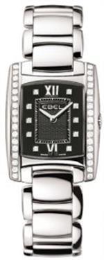 エベル 時計 Ebel Brasilia Womens Black Diamond Dial Diamond Bezel Stainless Steel Watch