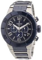 フェスティナ 時計 Festina Mens Ceramic F16576/3 Two-Tone Ceramic Quartz Watch with Blue Dial
