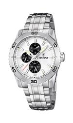 フェスティナ 時計 Festina Mens Quartz Watch with White Dial Analogue Display and Silver Stainless