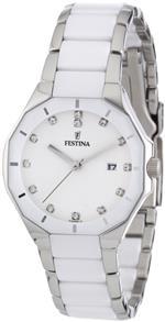 フェスティナ 時計 Festina Womens Date Display White Dial Crystals Ceramic Strap Watch F163991