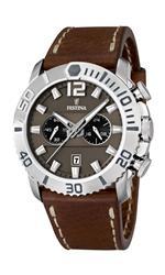フェスティナ 時計 Festina Mens Quartz Watch with Brown Dial Chronograph Display and Brown Leather