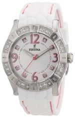 フェスティナ 時計 Festina F16541/3 Womens Silver Dial White Rubber Band Crystals On Bezel Watch