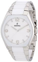 フェスティナ 時計 Festina Womens White Ceramic Quartz Watch Bracelet Silver Dial F165321