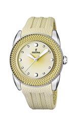 フェスティナ 時計 Festina Womens Quartz Watch with Beige Dial Analogue Display and Beige Silicone