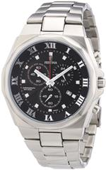 フェスティナ 時計 Festina Mens Quartz Watch with Black Dial Chronograph Display and Silver Stainless
