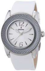 フェスティナ 時計 Festina Womens Quartz Watch with Silver Dial Analogue Display and White Leather
