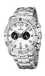 フェスティナ 時計 Festina Mens F16613/1 Silver Stainless-Steel Quartz Watch with White Dial