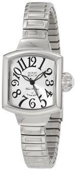 グラムロック 時計 Glam Rock Womens MBD27041 Miami Beach Art Deco Silver Dial Stainless Steel Watch